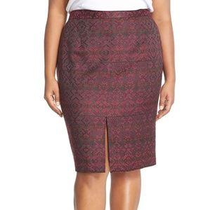 NWT, HALOGEN Front Slit Jacquard Pencil Skirt